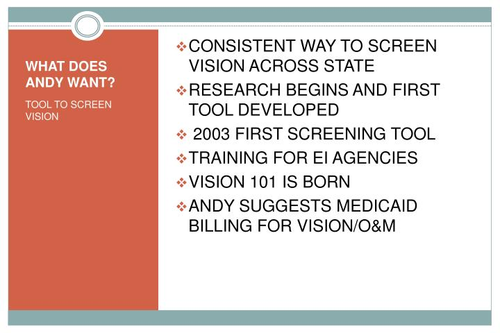 CONSISTENT WAY TO SCREEN VISION ACROSS STATE