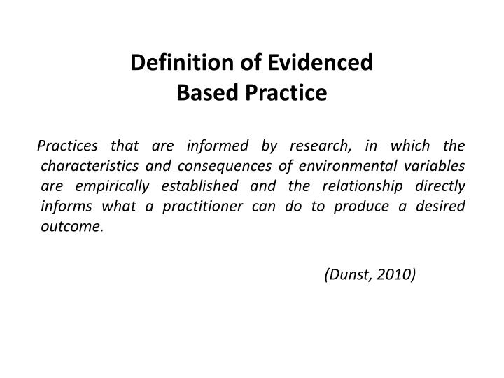 Definition of Evidenced