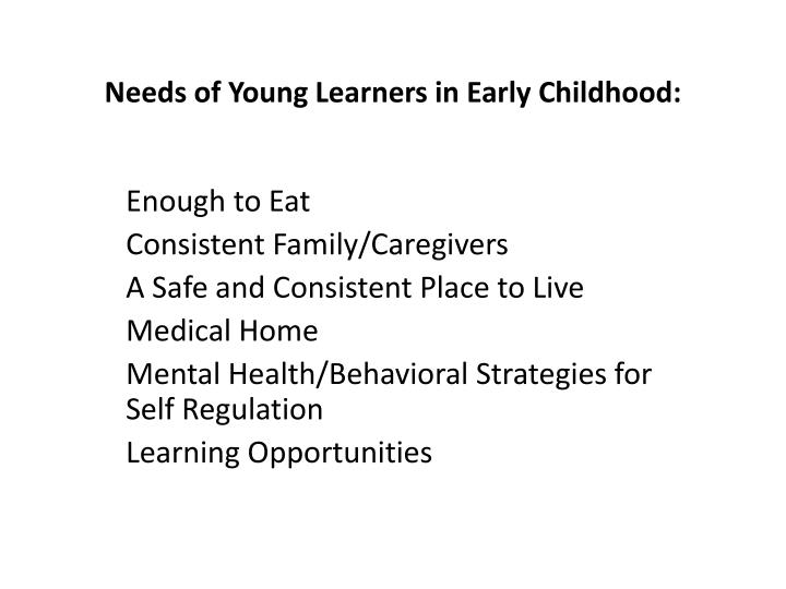 Needs of Young Learners in Early Childhood: