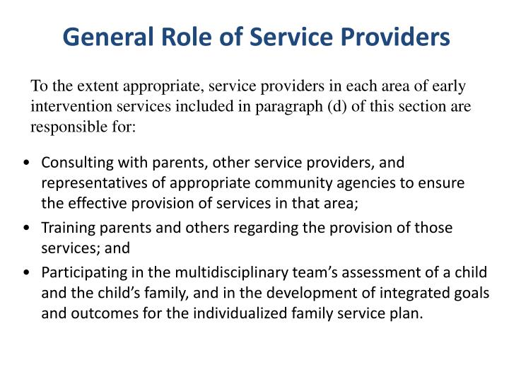 General Role of Service Providers