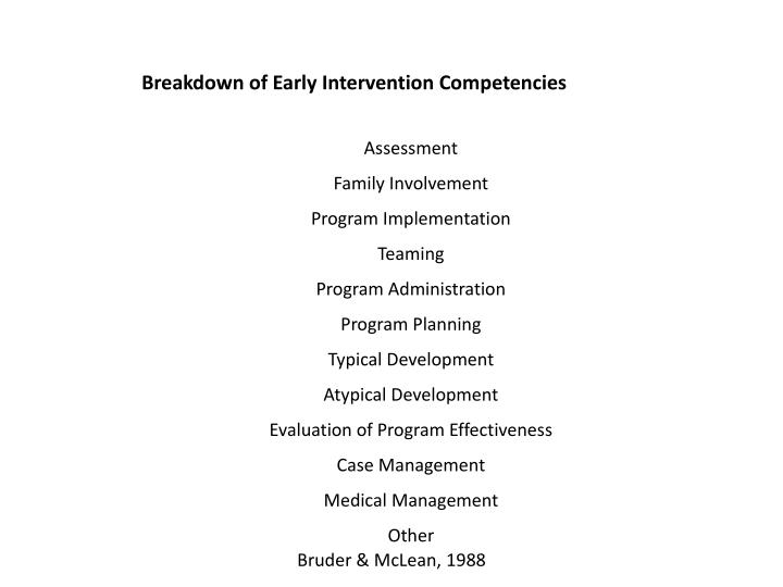 Breakdown of Early Intervention Competencies