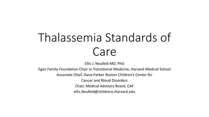 thalassemia standards of care n.