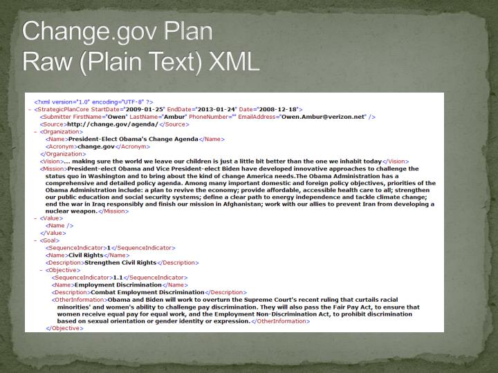Change.gov Plan