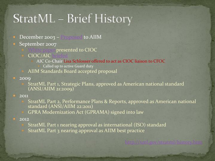 StratML – Brief History