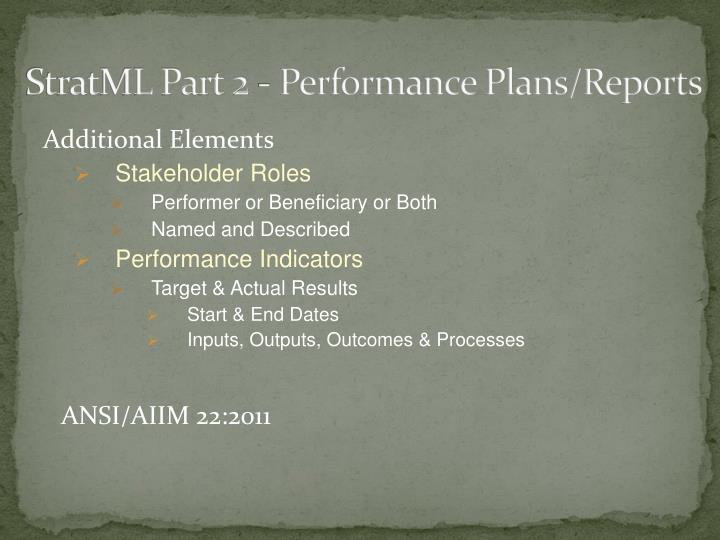 StratML Part 2 - Performance Plans/Reports