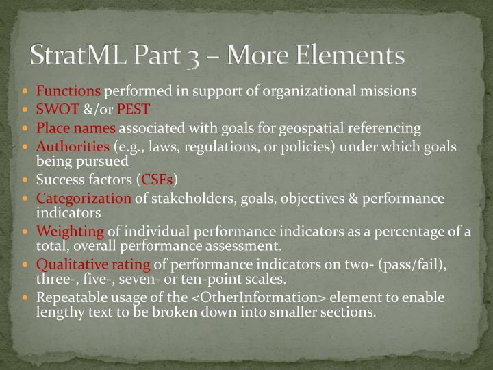 StratML Part 3 – More Elements