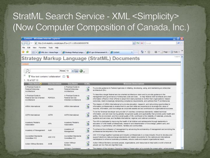 StratML Search Service - XML <Simplicity> (Now Computer Composition of Canada, Inc.)