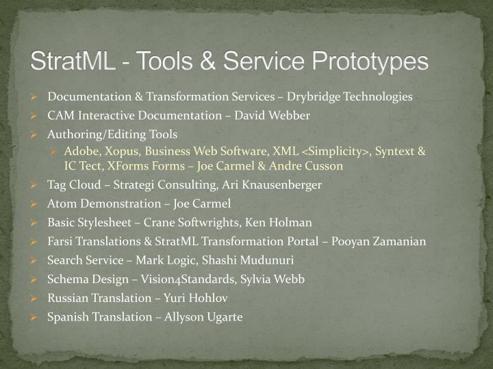 StratML - Tools & Service Prototypes