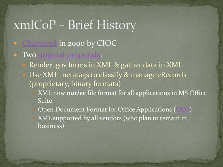 Xmlcop brief history