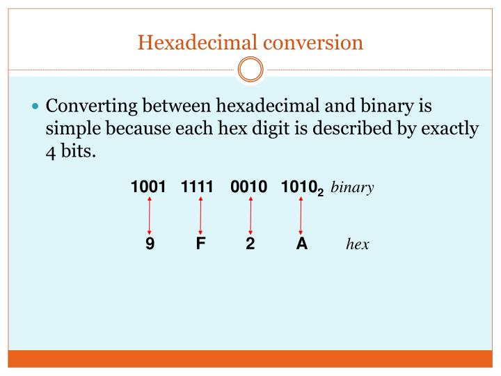 Hexadecimal conversion