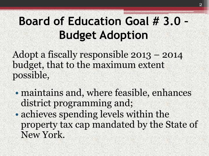 Board of education goal 3 0 budget adoption