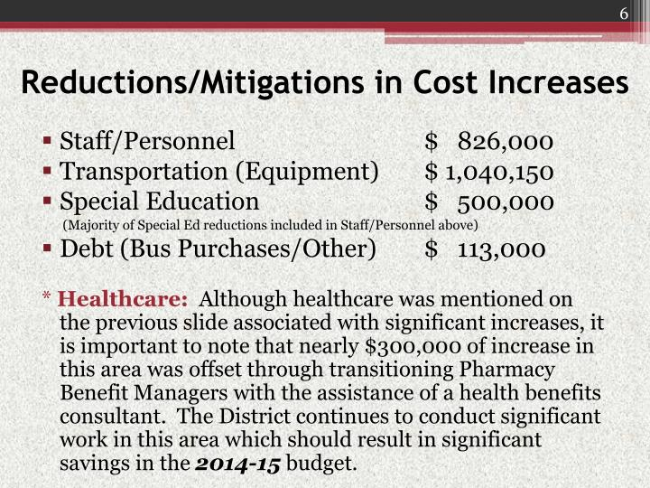 Reductions/Mitigations in Cost Increases