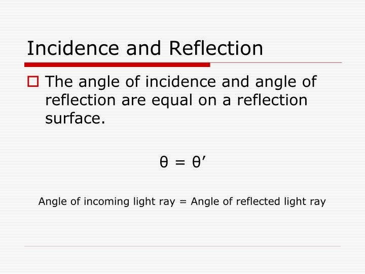 Incidence and Reflection