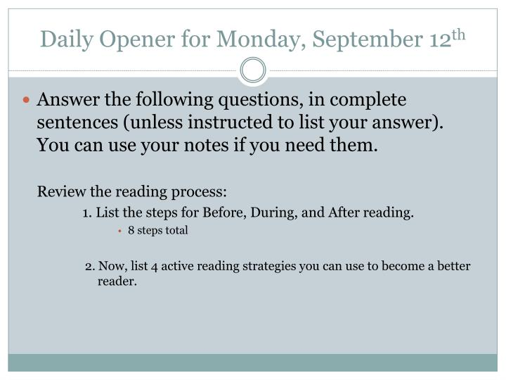Daily Opener for Monday, September 12