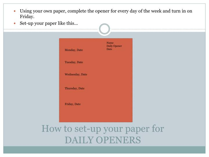 How to set-up your paper for