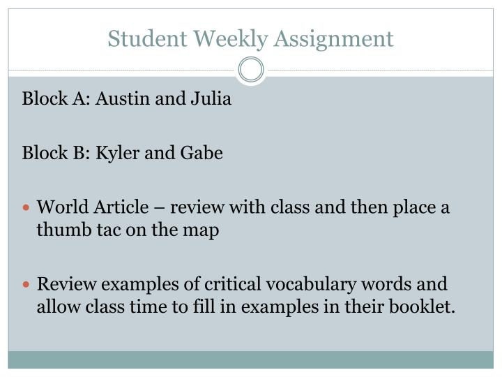 Student Weekly Assignment