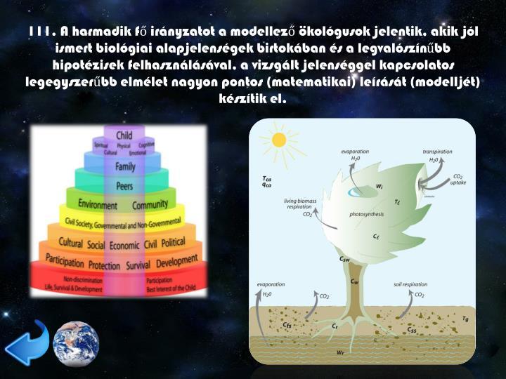 111. A harmadik fő irányzatot a modellező ökológusok jelentik, akik jól ismert biológiai alapjelenségek birtokában és a legvalószínűbb hipotézisek felhasználásával, a vizsgált jelenséggel kapcsolatos legegyszerűbb elmélet nagyon pontos (matematikai) leírását (modelljét) készítik el.