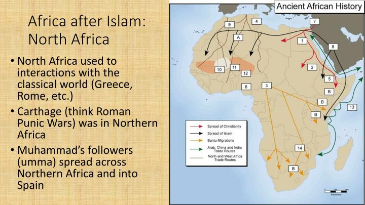 spread of islam to north africa Spread of islam, the wth the death of muhammad, the muslim community found itself without a leader while as the 'seal of the prophets' he could have no successor, as a political guide muhammad was succeeded by the so-called al khulafa' al rashidun, the four 'rightly-guided caliphs' who were chosen from his most loyal companions.