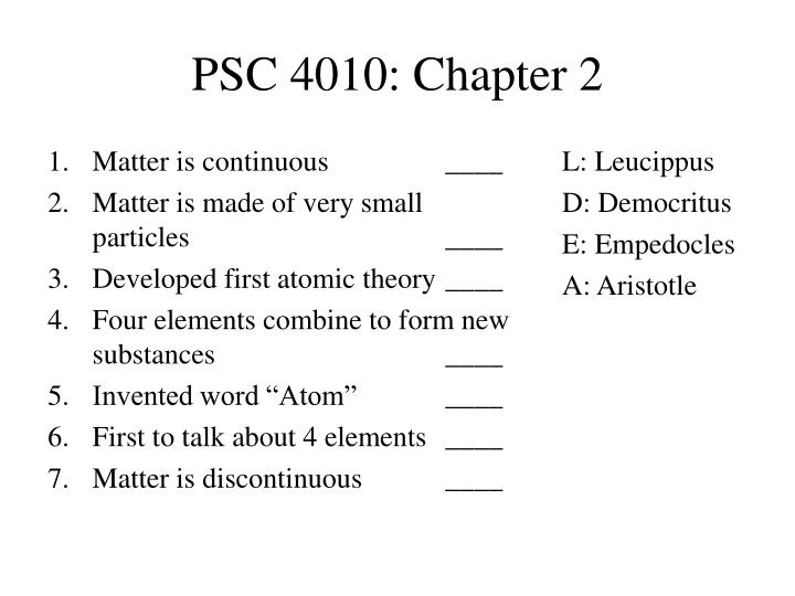 PSC 4010: Chapter 2