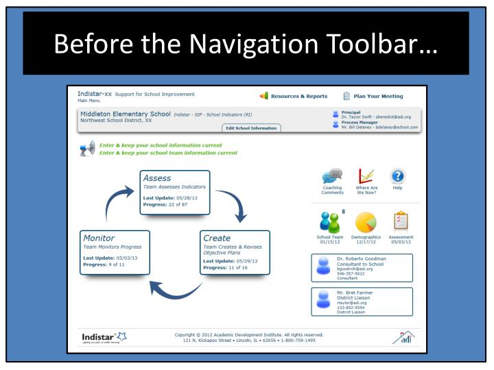 Before the navigation toolbar