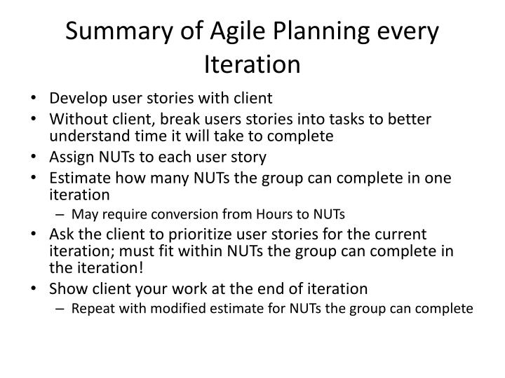 Summary of Agile Planning every Iteration