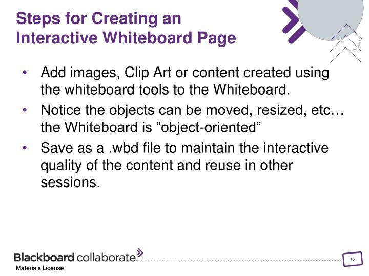 Steps for Creating an Interactive Whiteboard Page