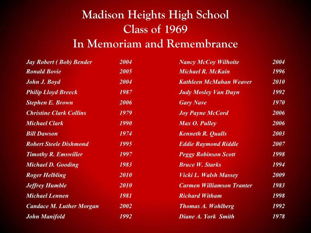 ppt madison heights high school class of 1969 in memoriam and