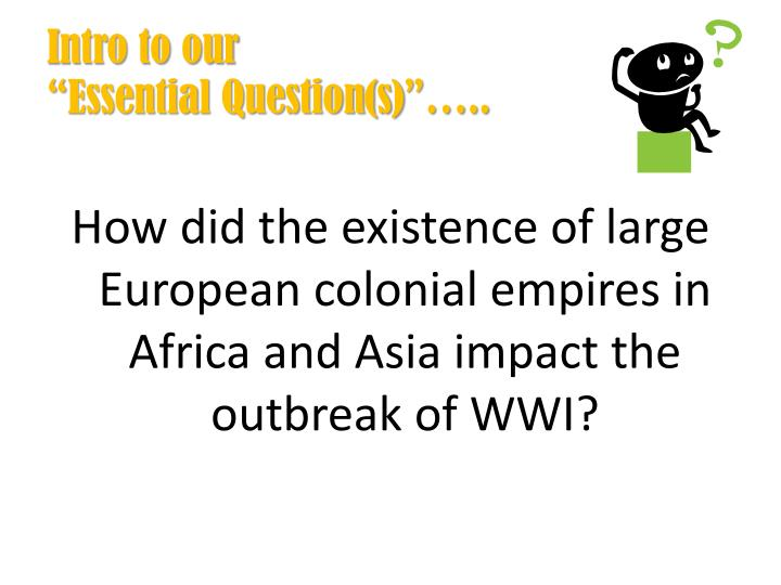 Intro to our essential question s