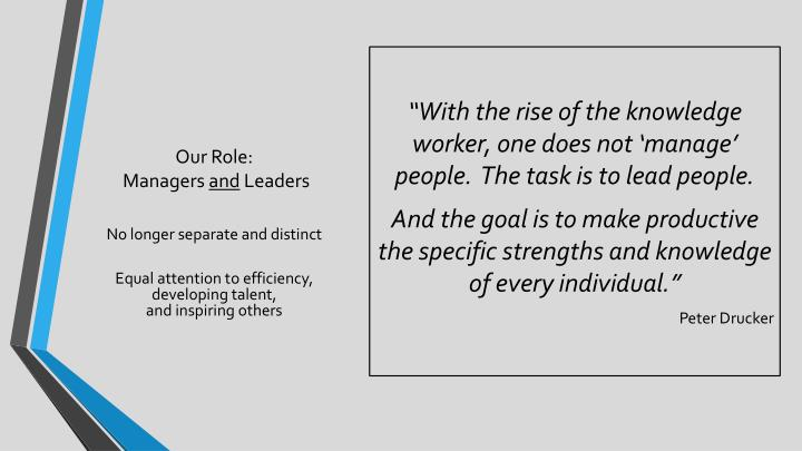 """With the rise of the knowledge worker, one does not 'manage' people.  The task is to lead people."