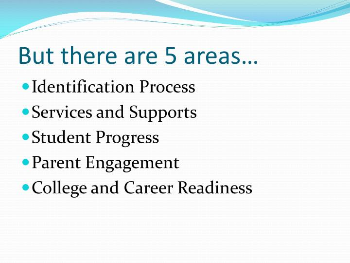 But there are 5 areas…
