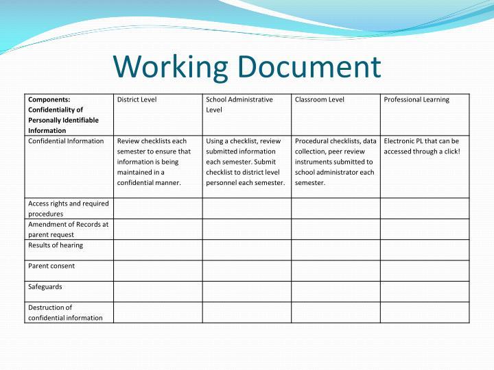 Working Document