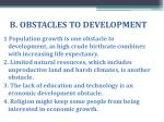 b obstacles to development