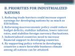b priorities for industrialized nations