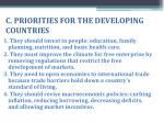 c priorities for the developing countries