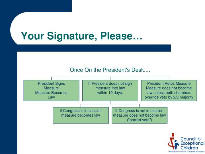 Your Signature, Please…