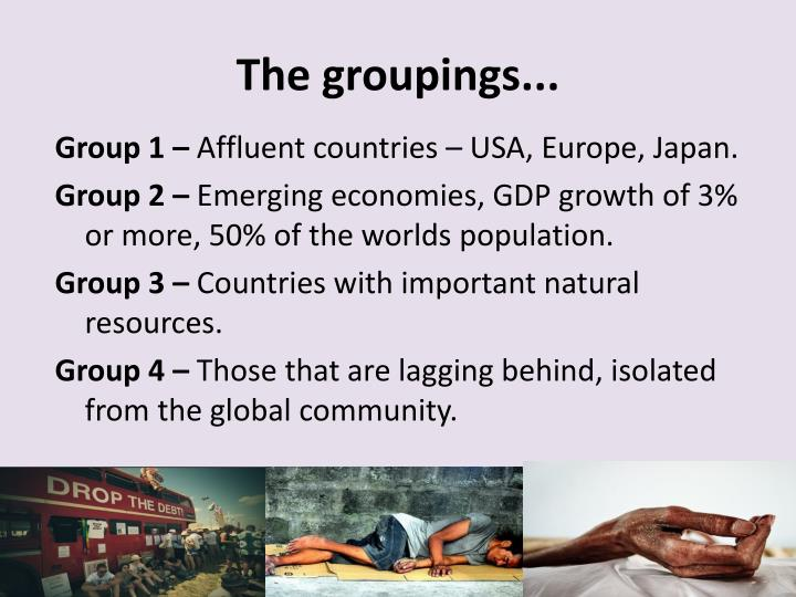 The groupings...