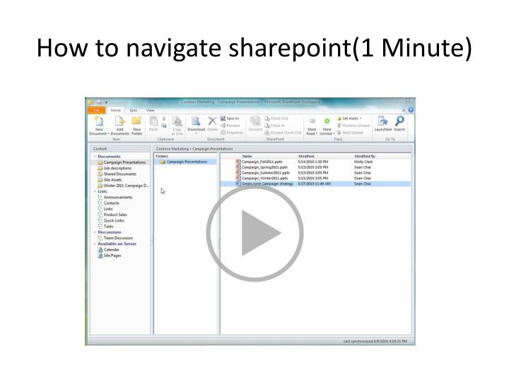How to navigate sharepoint 1 minute