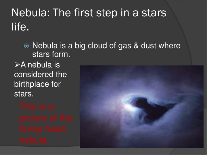 Nebula the first step in a stars life