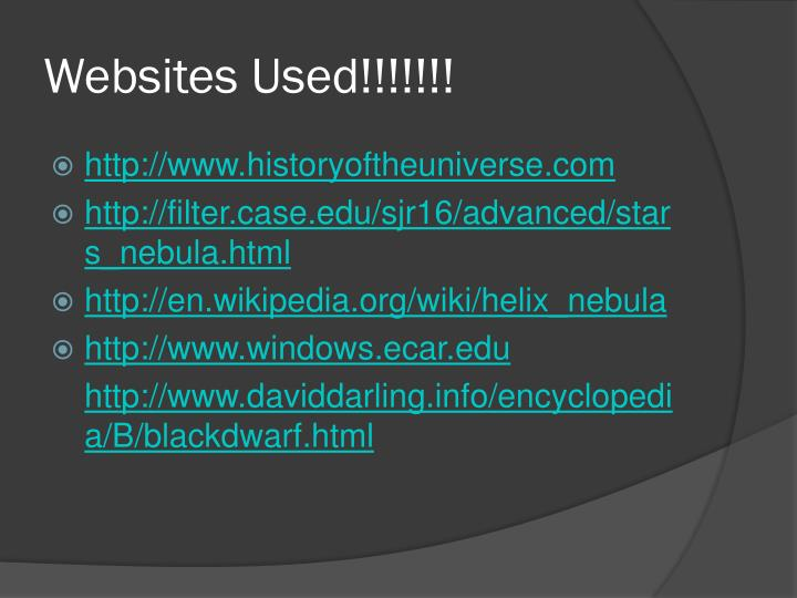 Websites Used!!!!!!!