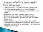 in terms of what s been useful from this group