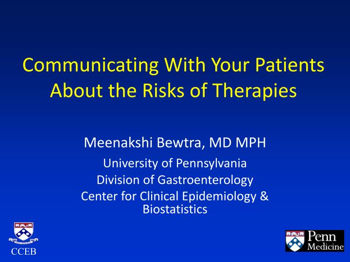 communicating with your patients about the risks of therapies n.