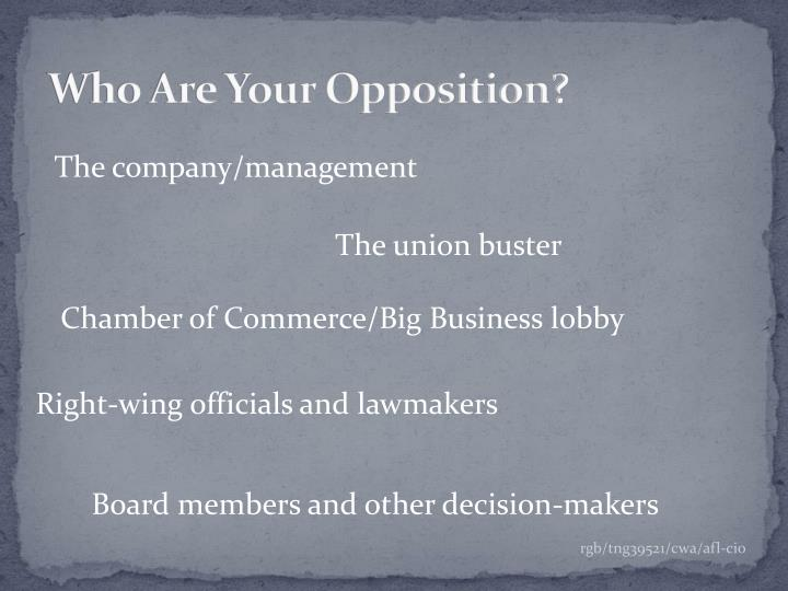 Who are your opposition
