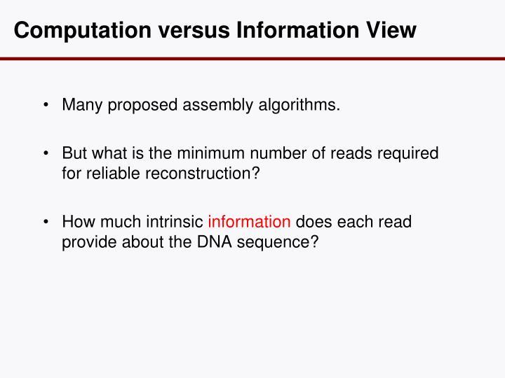 Computation versus Information View