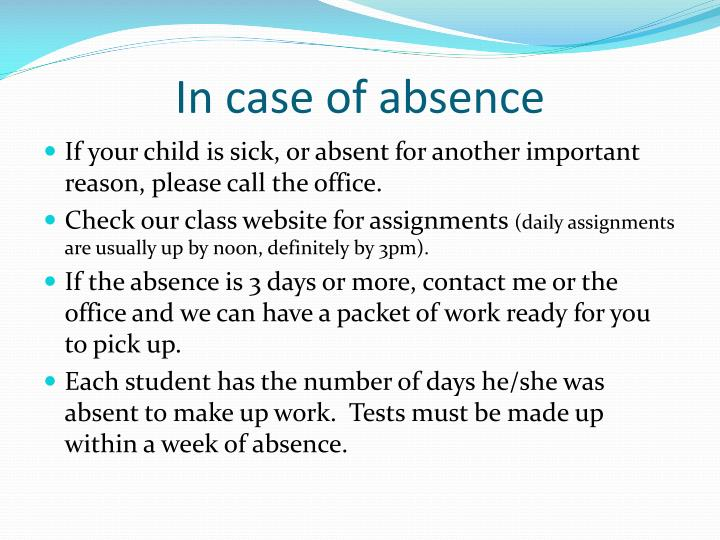In case of absence