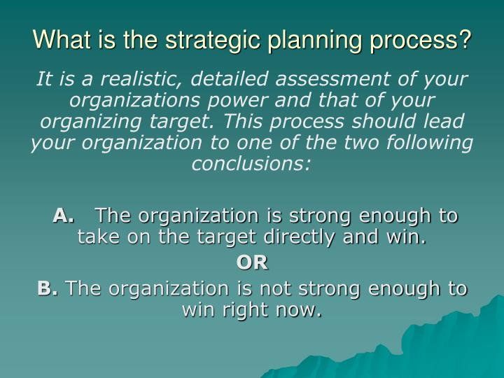 What is the strategic planning process