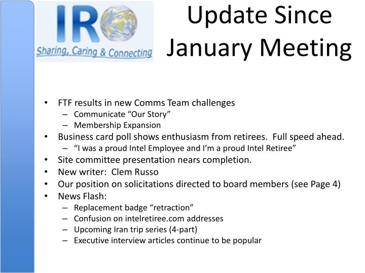 Update since january meeting