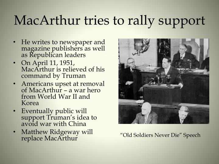 MacArthur tries to rally support