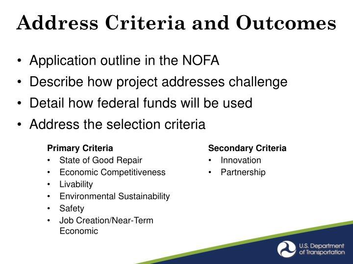Address Criteria and Outcomes