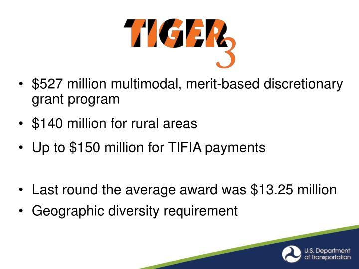 $527 million multimodal, merit-based discretionary grant program