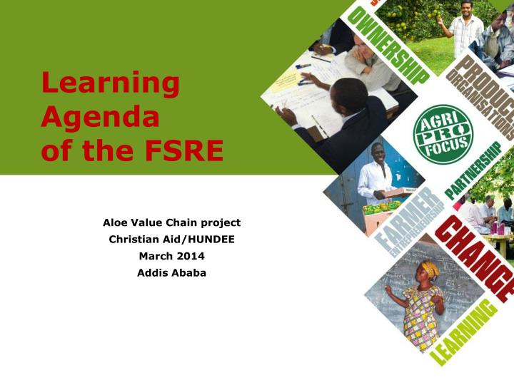 learning agenda of the fsre n.